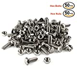 Hex Bolts with Nuts Assortment Kit, Lokman 50 Pack Premium 304 Stainless Steel Hex Bolts with Nuts Fastener Set, Size M6x16mm (Screw Bolt- 50 Pack)