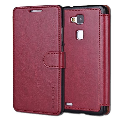 Huawei Ascend Mate 7 Case,Mulbess [Layered Dandy][Wine Red] - [Card Slot][Flip][Slim Fit] - PU Leather Wallet Case For Huawei Ascend Mate 7 (Huawei Ascend Mate 2 Wallet Case)