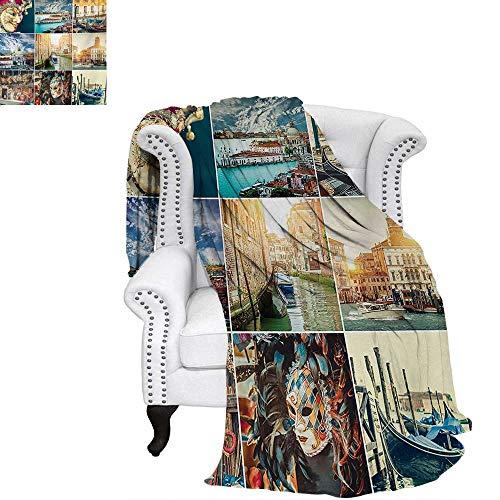 warmfamily Italian Oversized Travel Throw Cover Blanket Designed Masks for Carnival of Venice Baroque Style Gondolas River Italy Landmark Super Soft Lightweight Blanket 90
