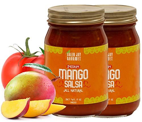 (Green Jay Gourmet Mango Salsa - Mango-Flavored Fruit Salsa - Medium Heat Picante Salsa - Gourmet Salsa Sauce with No Preservatives - Gluten-Free, MSG-Free, Small Batch Mango Salsa Dip - 34 Ounces )
