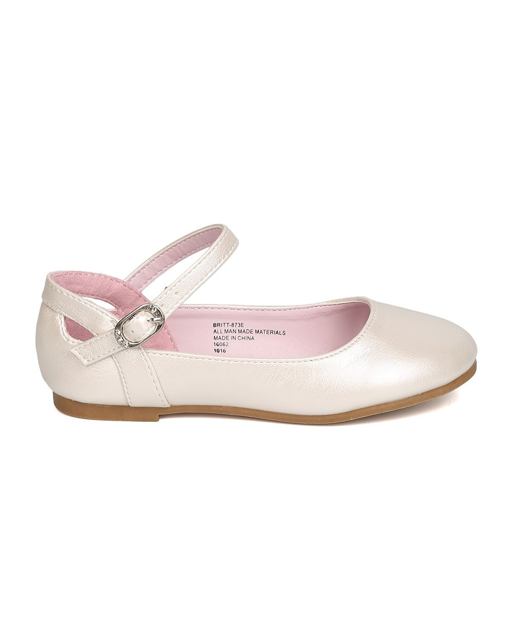 Girls Leatherette Ankle Strap Cut Out Ballet Flat GB42 - Ivory (Size: Little Kid 1) by Little Angel (Image #2)