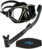 Cressi Panoramic Wide View Mask with Dry Snorkel Set, All Black