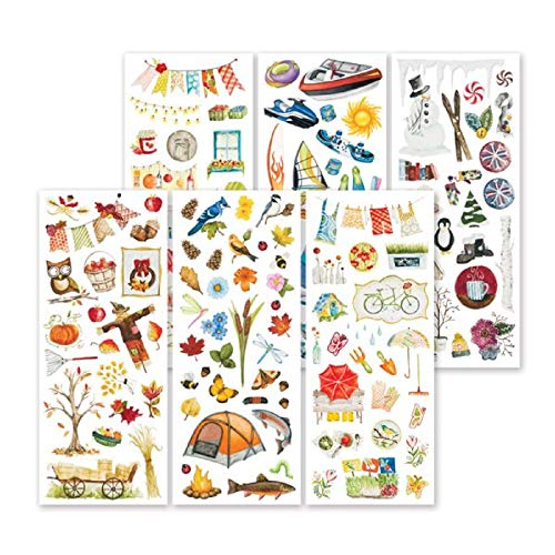 Memory Scrapbook Stickers - Seasonal Classic Stickers Six Sheets of Hand-Painted Seasonal Scrapbook Stickers by Creative Memories