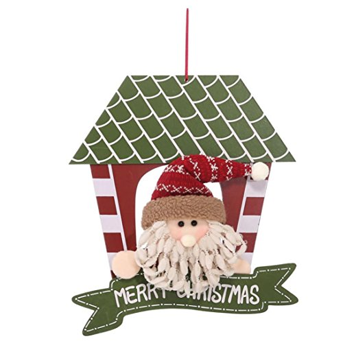Christmas Decoration,Maonet Home Decor Santa Snowman Wooden Hanging Toy Doll Kids Gift (A) ()
