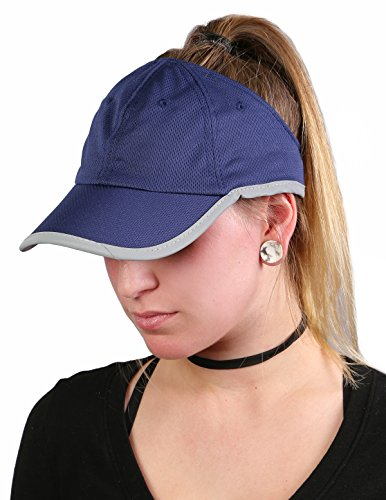 H-201-31 Athletic Ponytail Sport Visor - Navy Mesh