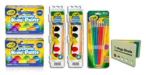 Crayola Watercolor Washable Crayola - Crayola Washable Kid's Paint 6 Count, Pack of 2 | Crayola Washable Watercolor Paint, Pack of 2 | Crayola Art & Crafts Brush Set 8 Count | Includes 5 Color Flag Set