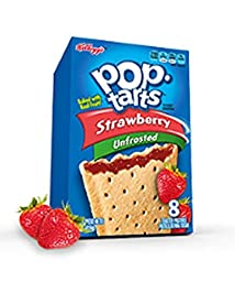 Kellogg\'s, Pop Tarts, Unfrosted Strawberry, 8-Count Box (Pack of 2)