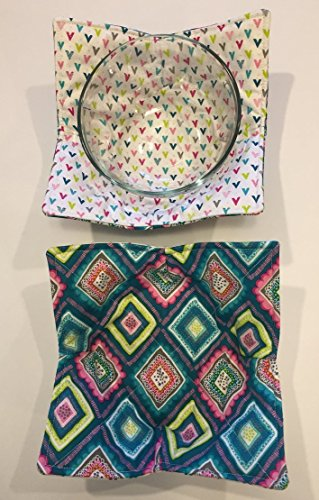 MICROWAVE BOWL COZY Teal Multi color squares,handmade,Hot Cold Bowl Cozie,Fabric Trivet,Hot pad,Pot Holder,All cotton,Reversible,Washable