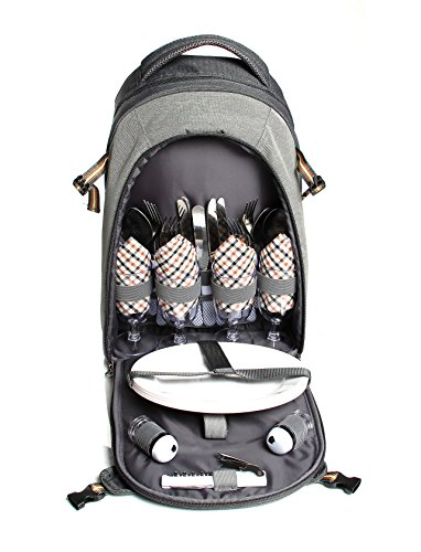 Scuddles Picnic Backpack Basket with Cooler Compartment, 4 Person Fleece Blanket Flatware and - Seasons All Picnic Basket
