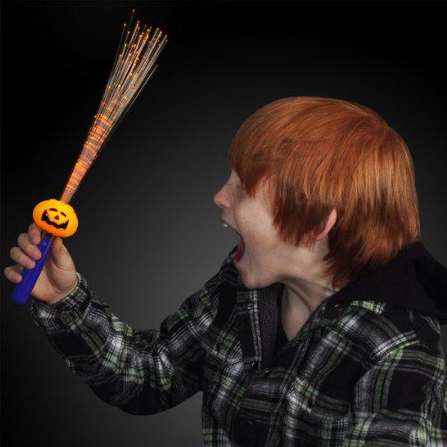 Jack O Lantern Pumpkin LED Wand with Fiber Optics -