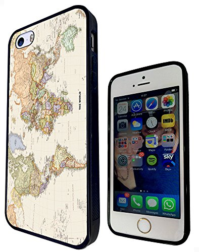 178 - World Map The World Design iphone SE - 2016 Fashion Trend Protecteur Coque Gel Rubber Silicone protection Case Coque - Noir