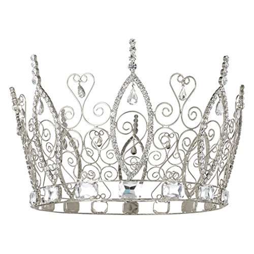 DcZeRong Pageant Prom Queen Crown Cake Topper Birthday Women Crowns Costume Homecoming Queen Crown Men's Crowns King Crowns For Men Pageant Party Prom Rhinestone Crystal Full -
