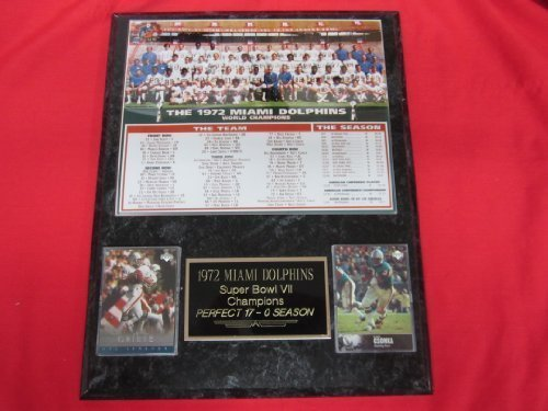 1972 Miami Dolphins Super Bowl Champions 2 Card Collector Plaque w/8x10 Team - Dolphins 1972