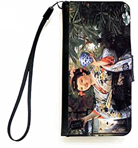 Rikki Knight™ James Tissot Art A Young Woman Holds Japanese Goods iPhone Apple 5c PU Leather Wallet Type Flip Case with Magnetic Flap and Wristlet for Apple iPhone 5c