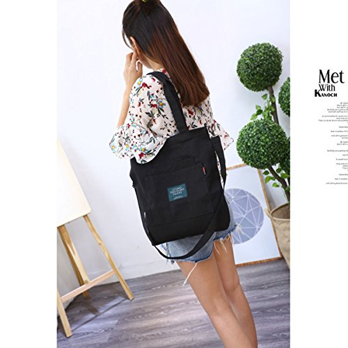 Top Fanspack Women��s Handbags Casual Crossbody Black Shoulder Handle Canvas Purse Bag Tote Bag xxRqXwBZ