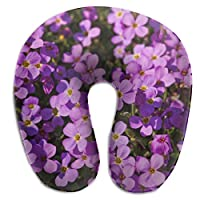 BRECKSUCH Purple Flower Wallpaper Gallery Print U Shaped Pillow Memory Foam Neck Pillow for Travel and Relief Neck Pain Comfortable Super Soft Cervical Pillows with Resilient Material Relex Pollow