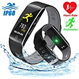 Qiwoo IP68 Waterproof Sports Smart Watch, Fitness Tracker Women Men Heart Rate Blood Pressure Oxygen Sleep Monitor Pedometer Calorie Wearable Travel Office Android iOS (A - Black)