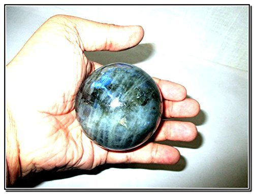 Jet Natural Labradorite 45 - 50 mm Ball Sphere Gemstone A+ Hand Carved Crystal Altar Healing Devotional Focus Spiritual Chakra Cleansing - Spheres Stone Crystal And