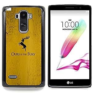 """La nuestra es la Furia Baratheon"""" - Metal de aluminio y de plástico duro Caja del teléfono - Negro - LG G4 Stylus / G Stylo / LS770 H635 H630D H631 MS631 H635 H540 H630D H542"""