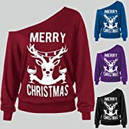 kaifongfu Women Off Shoulder Sweatshirts Tops with Marry Christmas Print