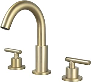 SHAMANDA 3 Hole Brass Bathroom Sink Faucet, 2 Handle 8 Inch Widespread Laundry Sink Faucet with Valve and cUPC Water Supply Lines, Brushed Gold, LB102-3