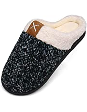 Mishansha Men Women Memory Foam Slippers Winter House Slippers Plush Fleece Lined Slipper with Anti-Slip Rubber Sole