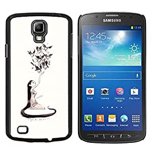 """For Samsung Galaxy S4 Active i9295 Case , Naturaleza del amor de Arte de chicas Aves de Long Hair Art Dibujo"""" - Diseño Patrón Teléfono Caso Cubierta Case Bumper Duro Protección Case Cover Funda"""