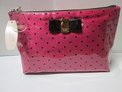 Victoria s Secret rosa w NEGRO LUNARES y lazo Make Up funda ...