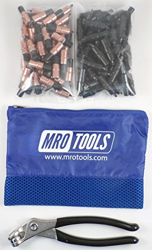 50 1/8 & 50 5/32 Extra Short Cleco Fasteners + Pliers w Mesh Bag (KK4S100-2) by MRO Tools Cleco Fasteners