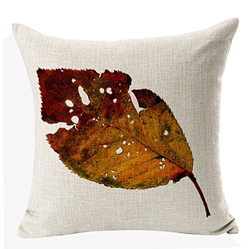 nordic literary autumn maple leaf cotton linen throw pillow case pillowcase houseware18inch - Large Decorative Pillows