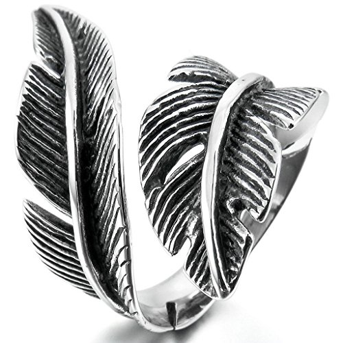 [Epinki,Fashion Jewelry Men Women's Stainless Steel Rings Black Silver Feather Vintage Size 10] (Angel Costume Tumblr)