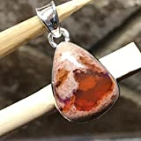 Natural Mexican Fire Opal 925 Solid Sterling Silver Solitaire Pendant 27mm