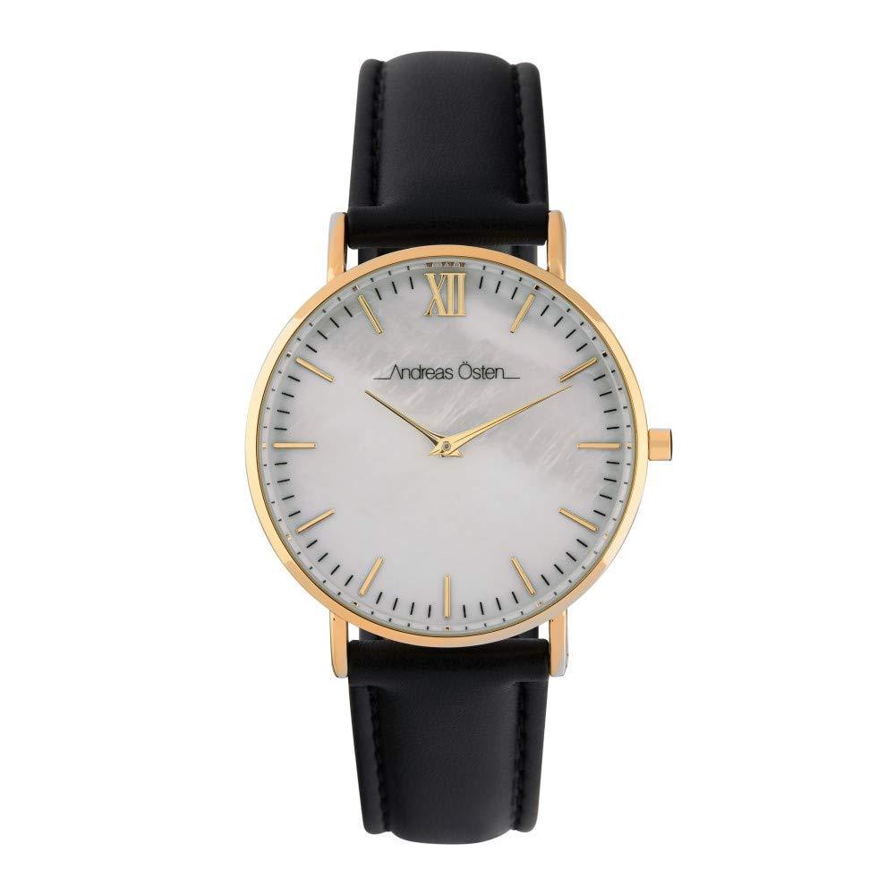 Montre Femme Andreas Osten à Quartz Cadran Blanc 36mm Et Bracelet Doré En PU AOS18029