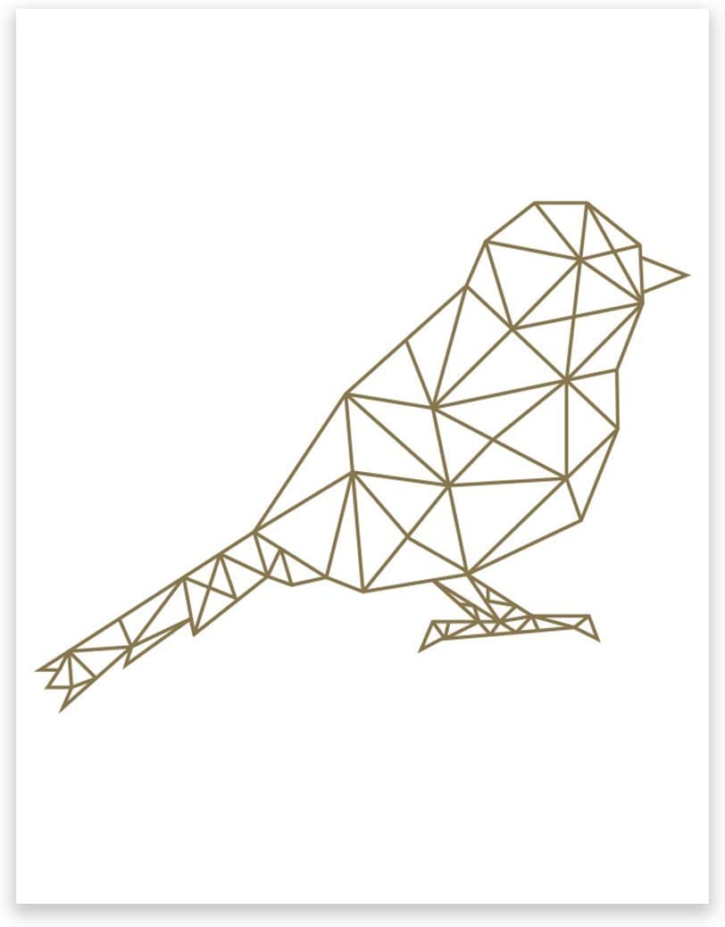 Andaz Press Geometric Origami Wall Art Collection, Metallic Gold Ink, Sparrow, 8.5x11-inch, 1-Pack