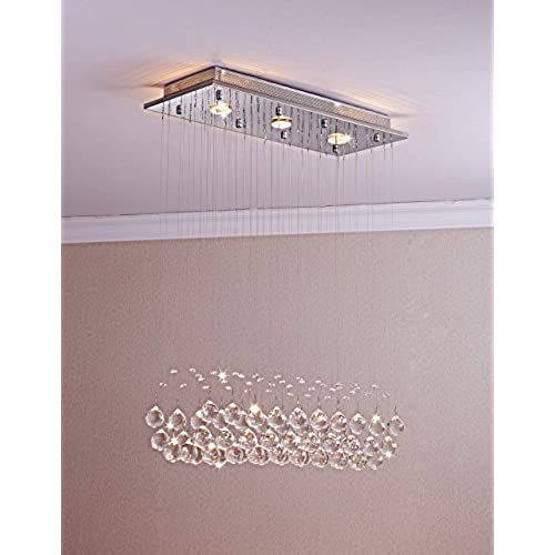 Saint Mossi Chandelier Modern K9 Crystal Raindrop Chandelier Lighting Flush  Mount LED Ceiling Light Fixture Pendant Lamp For Dining Room Bathroom  Bedroom ...