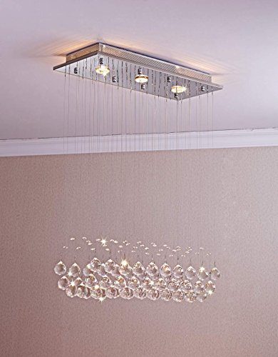 Pearl Bronze Foyer Pendant (Saint Mossi Chandelier Modern K9 Crystal Raindrop Chandelier Lighting Flush mount LED Ceiling Light Fixture Pendant Lamp for Dining Room Bathroom Bedroom Livingroom 3 GU10 Bulb Required H33