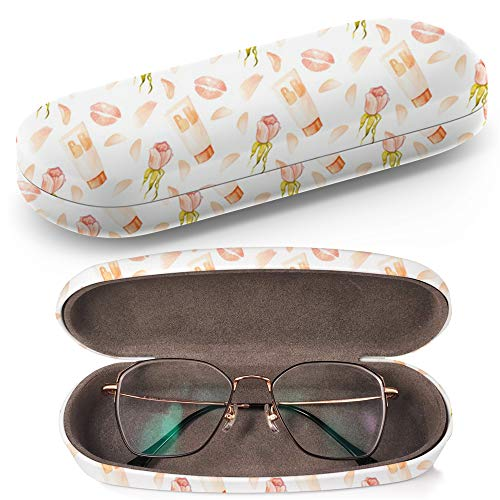 Hard Shell Glasses Protective Case with Cleaning Cloth for Eyeglasses and Sunglasses - Watercolor Bb Cream Kisses ()