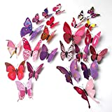 ElecMotive 24 Pcs 2 Packs Beautiful 3D Butterfly Wall Decals DIY Home Decorations Art Decor Wall Stickers & Murals for Babys Bedroom TV Background Living Room (Pack of 2 Color) (12 Pink+12 Purple)