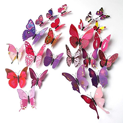 Elecmotive 24 Pcs 3d Butterfly New Home Decoration Diy Removable 3d Vivid Special Man Made Lively Butterfly Art Diy Decor Wall Stickers For Wall Decor Home