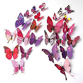 Amazon.com: ElecMotive 24 Pcs 3D Butterfly New Home Decoration DIY ...