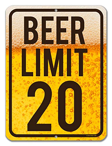 Honey Dew Gifts Funny Signs, Beer Limit 20-9 inch by 12 inch Metal Bar Decor and Accessories, Made in USA (Decorative Beer Signs)