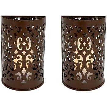 Amazon.com : Brown Etched Metal Indoor/Outdoor Wall Sconce ...