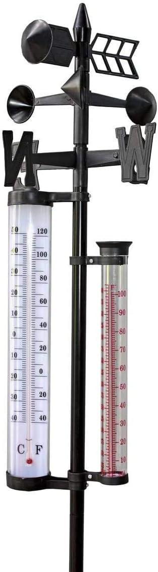 Florabest Termómetro para jardín con pluviómetro y Veleta. Mide Temperatura Lluvia e Indica dirección del Viento.: Amazon.es: Jardín