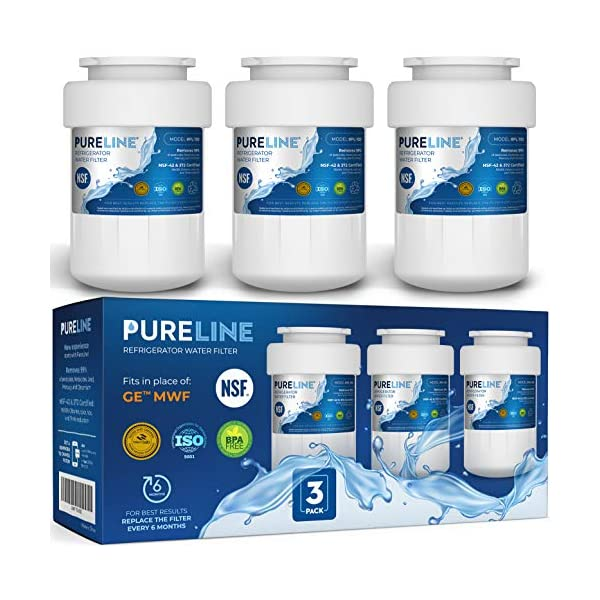 GE MWF Certified Water Filter Replacement. Compatible GE Models: MWF, MWFA, MWFP, MWFAP, MWFINT, GWF, GWF01, GWF06, GWFA, HWF, HWFA, FMG-1, SmartWater, GSE25GSHECSS, 197D6321P006.-by PURELINE (3 Pack)