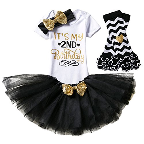 - 1st / 2nd Birthday Outfit Baby Girl Romper Tutu Skirt Bowknot Headband 4pcs Set