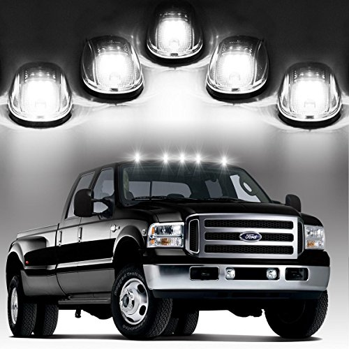 2500 Truck Marker (Partsam Cab Roof Lights LED Clearance Cab Marker Lights 5PCS Clear Lens w/build-in White 9 LED Assembly for 2003-2017 Dodge Ram 1500 2500 3500 4500 5500 Pickup Trucks)