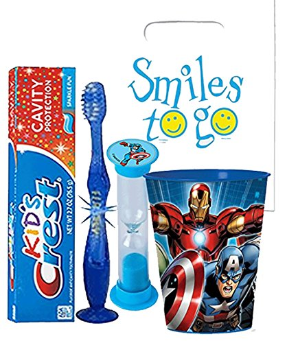Avengers Captain America 4pc Bright Smile Oral Hygiene Bundle! Light Up Toothbrush, Toothpaste, Brushing Timer & Mouthwash Rinse Cup! Plus Dental Gift Bag & Tooth Saver Necklace!
