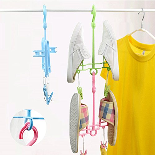 LexBu Sport Shoe Drying Rack Hanger Scarf Hook Pink