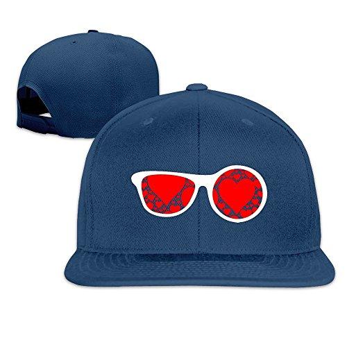 MaNeg Sunglasses Red Hearts Unisex Fashion Cool Adjustable Snapback Baseball Cap Hat One - Raw Eyewear