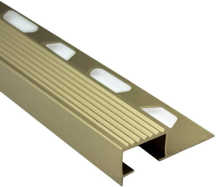 Alu Stufenprofil Fliesenschiene Profil Treppe Schiene matt L270cm H10mm gold